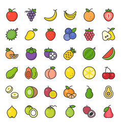 Cute fruit filled outline icon set vector