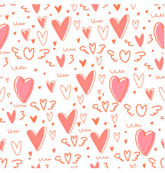cute heart seamless pattern background vector image