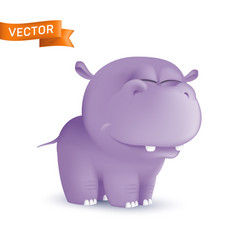 Cute standing and squinting cartoon baby hippo vector