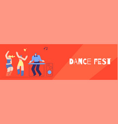 Dance fest dj disco club party flat style banner vector