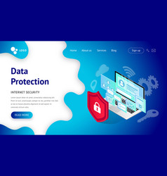 data protection landing page vector image