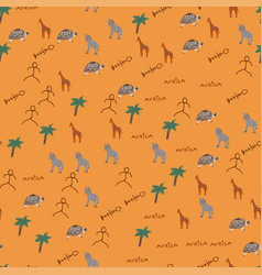 doodle seamless pattern with african animals vector image