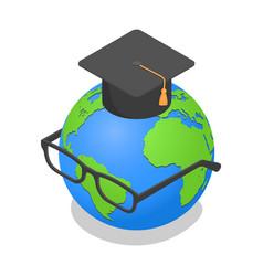 Earth globe graduated glasses icon isometric vector