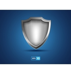 Empty silver shield on the blue background vector