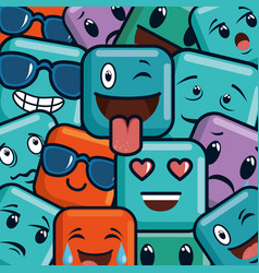 Faces emojis characters pattern vector