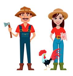 farmers man and woman cartoon characters vector image
