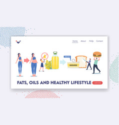 fats oils and healthy lifestyle landing page vector image