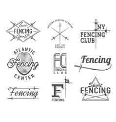 Fencing icons set emblems badges vector