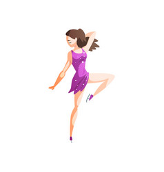 figure skater girl in purple dress skating female vector image