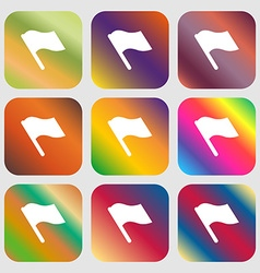 Finish start flag icon Nine buttons with bright vector
