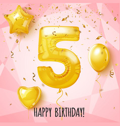 five birthday greeting card on shiny pink vector image