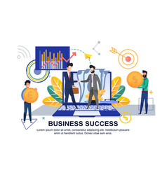 flat banner business success on white background vector image