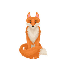 Flat icon of cute sitting red fox forest vector