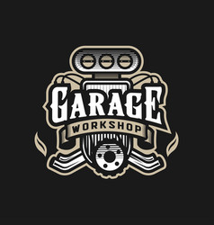 garage workshop car logo emblem on a dark vector image