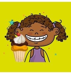 girl cup cake dessert vector image