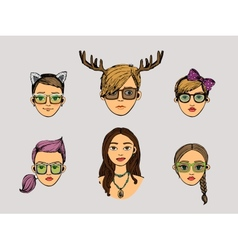 girls heads in hipster style vector image