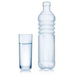 Glass and water bottle vector