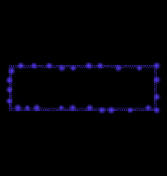 glowing mesh wire frame rectangle frame with flare vector image
