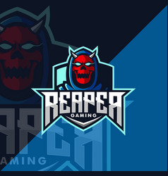 Grim reaper mascot gaming logo design vector