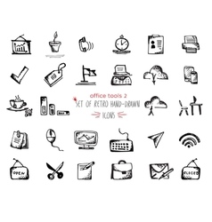 Hand-drawn sketch office tools icon set Black on vector image