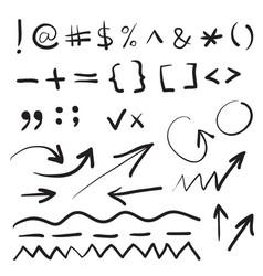 Hand written marker pen signs vector