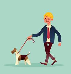 happy businessman walking with his dog cartoon vector image