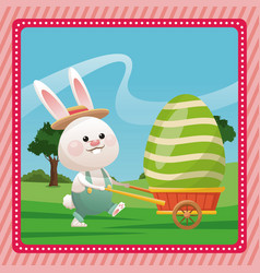 Happy easter bunny carrying egg pink frame vector