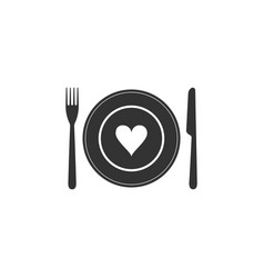 Heart on plate fork and knife icon isolated vector