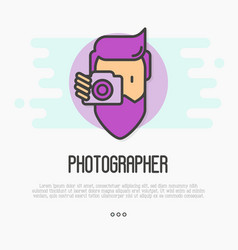Hipster bearded man with camera is making photo vector