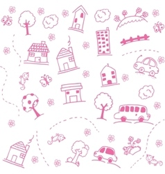 Home and buuildings doodle art vector