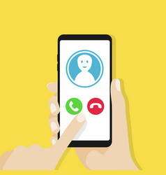 Incoming call on smartphone screen vector