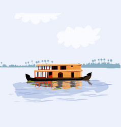 kerala in south india house boat in backwater vector image