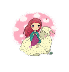 Knitting girl and a cute cartoon sheep vector