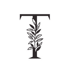 Letter t alphabet with leaves vector