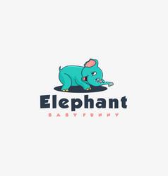Logo elephant happy simple mascot style vector