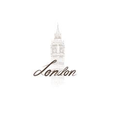 london sign handwritten lettering with big ben vector image
