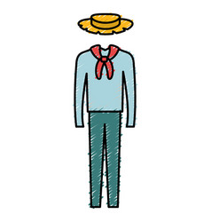 Male typical farmer costume icon vector