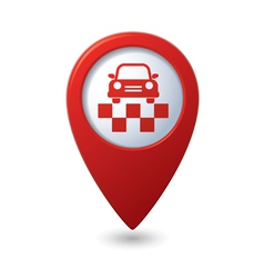 Map pointer with taxi icon vector
