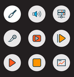 media icons colored line set with media server vector image