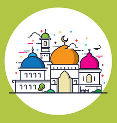 Modern line style islamic mosque vector