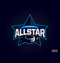 Modern professional emblem all star for hockey vector