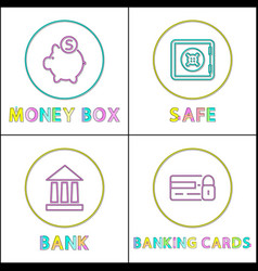 money box and safe bank set vector image