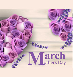 mother day card with violet roses flowers vector image