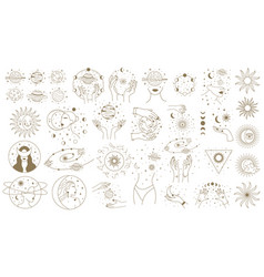 mystical astrology elements magical space objects vector image