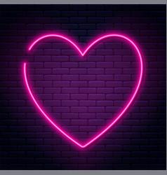 neon sign in heart shape glowing heart vector image