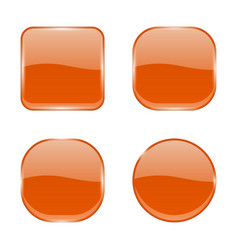 orange glass buttons shiny geometric 3d icons vector image
