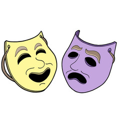 Pair of theatre masks vector