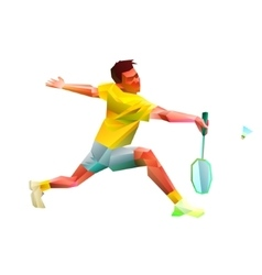 Polygonal professional badminton player vector image