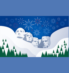 Presidents and fireworks over mount rushmore vector