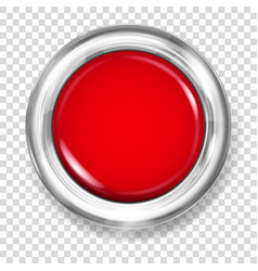 Red plastic button vector
